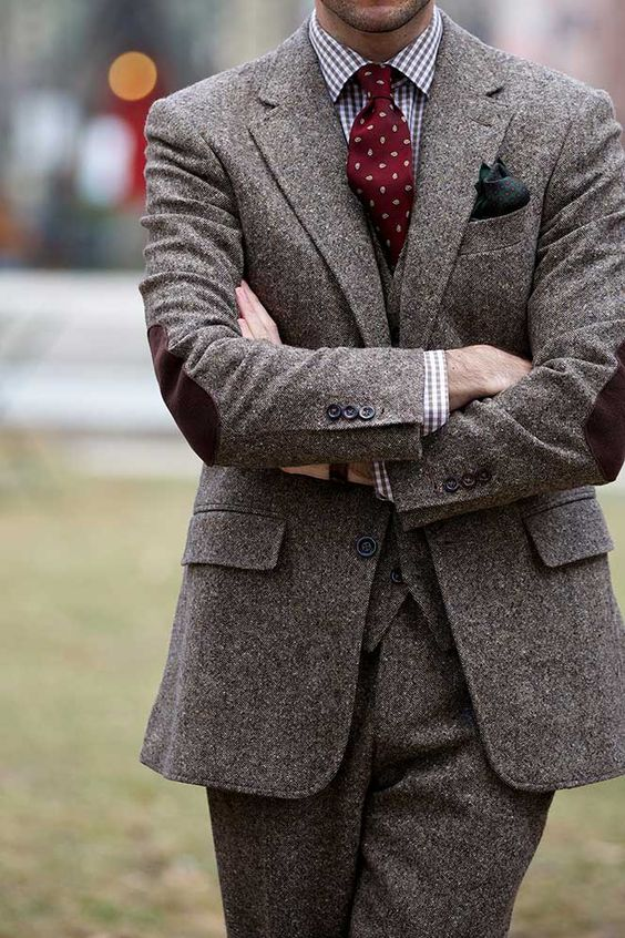 Latest Coat Pant Designs Brown Tweed Groom Tuxedos Autumn Winter 3 Piece Elbow Patches Mens