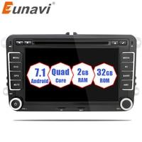 Eunavi 2 din 7 ''4 ядра android 7,1 dvd радио плеер 2din gps для VW Skoda поло PASSAT B6 CC TIGUAN Гольф 5 Fabia Wi Fi RDS