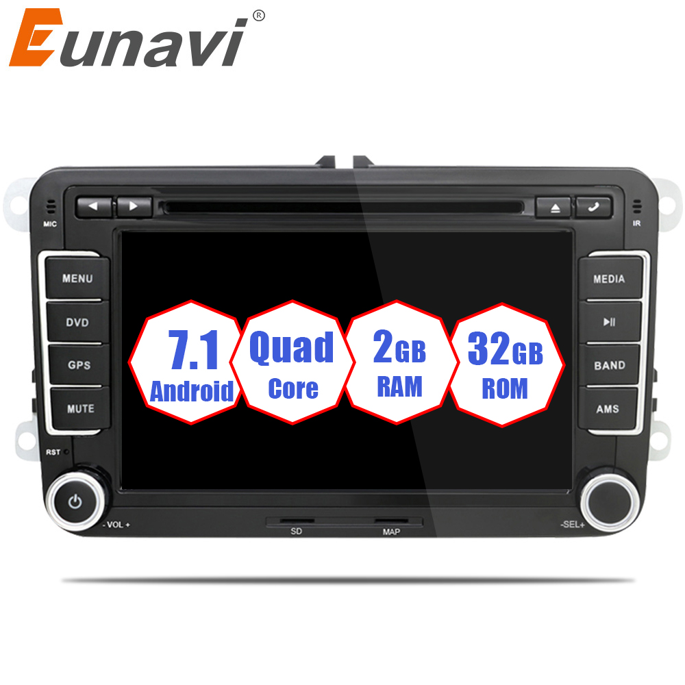 Eunavi 2 din 7'' Quad Core android 7.1 8.1 car dvd radio player gps For VW Skoda POLO PASSAT B6 CC TIGUAN GOLF 5 Fabia wifi RDS car dvd gps android 8 1 player 2din radio universal wifi gps navigation audio for skoda octavia fabia rapid yeti superb vw seat
