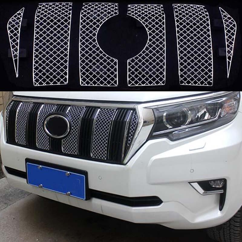 Accessoires de style de voiture pour Toyota Land Cruiser Prado 150 2018 FJ150 voiture moustiquaire maille Grille avant 6 pièces