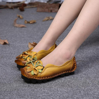 New Autumn Flowers Handmade Shoes Women S Floral Soft Loafers Flat Bottom Shoes Casual Folk Style