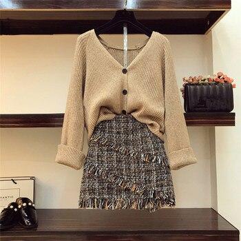 2019 automne hiver femmes col en V Cardigan tricoté manteau + taille haute Tweed jupe deux pièces fille dames jupes ensemble tenues