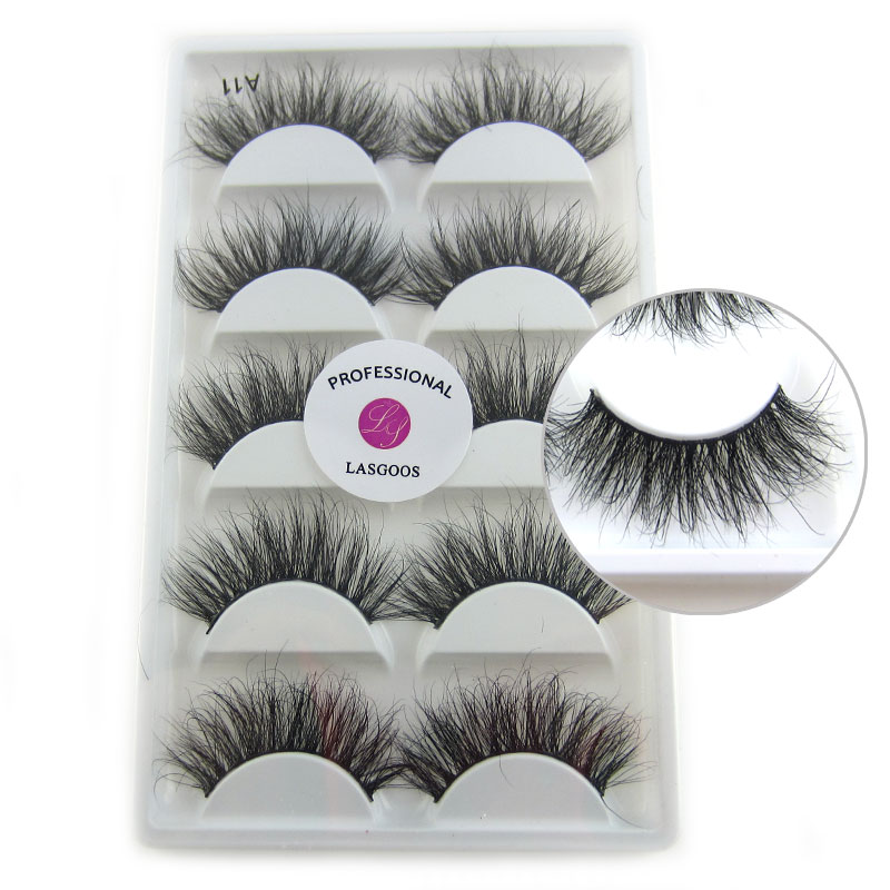 5 Pairs 100% handmade pretty eyelash 3D strip lashes thick fake faux eyelashes Mink lash Makeup A11 maquiagem