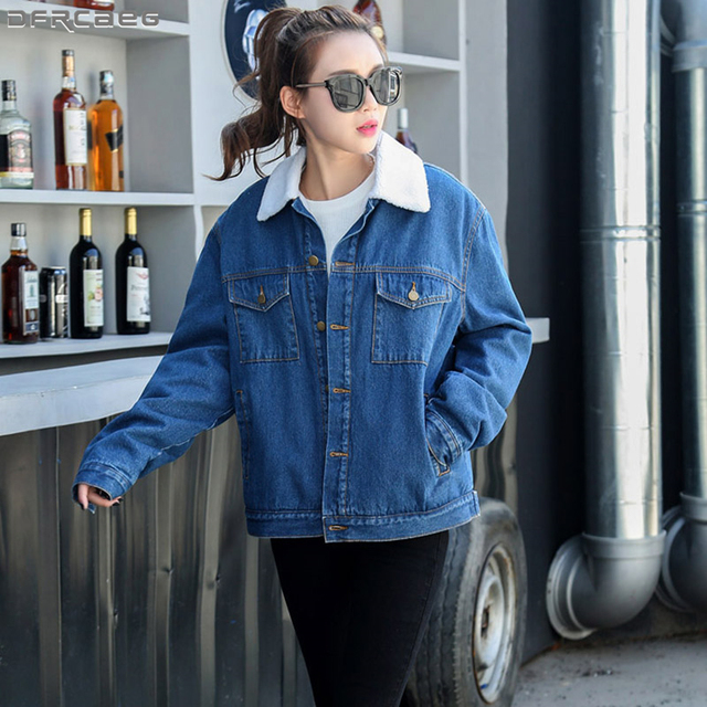 7eefc93ac07 2018 Casual Loose Oversized Jeans Jacket Plus Velvet Thick Winter Coat  Women Vintage Boyfriend Denim Jacket Wool Liner Outerwear