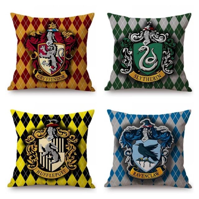 Harry Potter Geometrische Plaids Controles Zweinstein Griffoendor Zwadderich Logo Sofa Decoratieve Kussensloop Linnen Kussenhoes