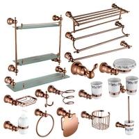 Rose gold Brass Copper High quality 17PCS/Set bathroom ware Bathroom hardware accessories Set