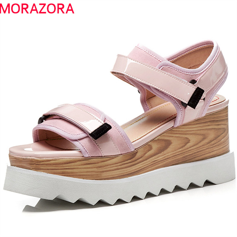 MORAZORA 2019 new style women sandals solid casual ladies shoes punk platform shoes genuine leather wedges
