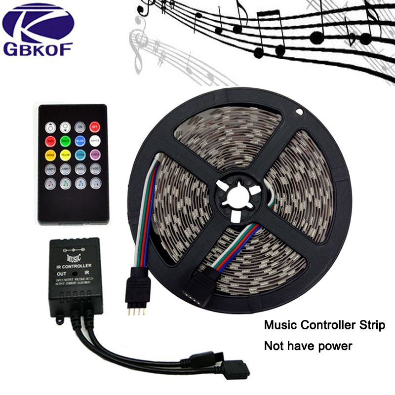Music LED Strip 5M SMD5050 Waterproof 60LEDs/M RGB Strips LED Strip Light+Music Sound Sensor IR Controller/24keys/44keys Tape