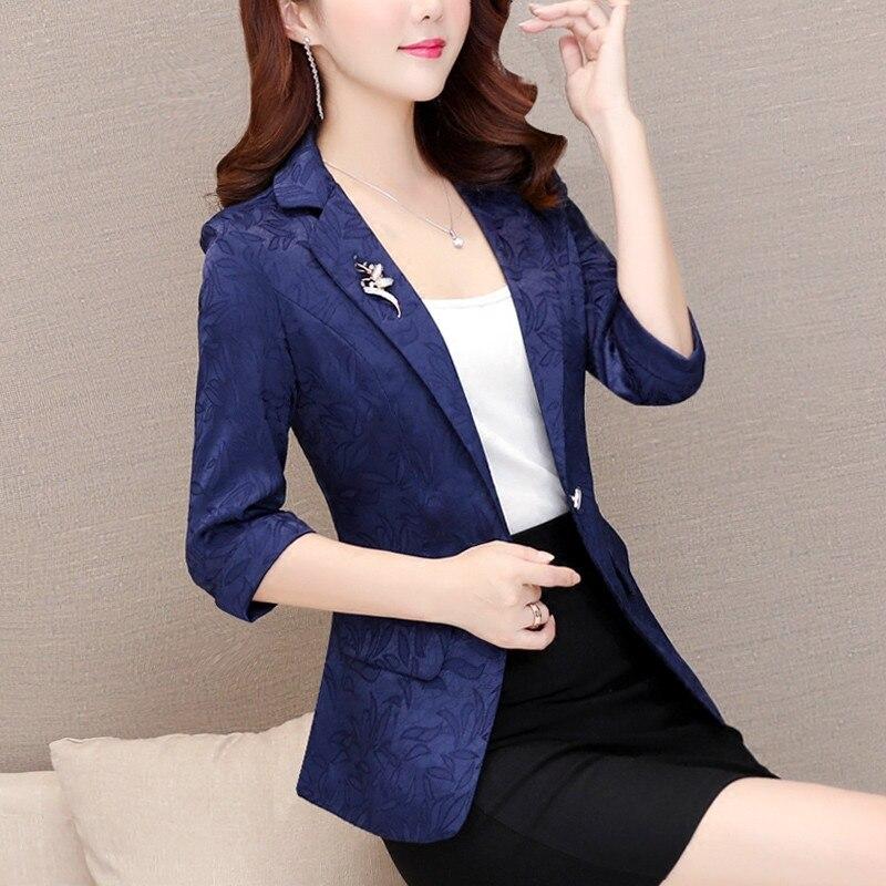 High Quality Women Blazers Jackets 2019 New Summer Fashion Office Lady Blazer Femenino Female Elegant With Brooch Outerwear R291