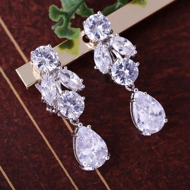 Aaa Cubic Zirconia Clip Earrings Clear Zircon Stone Non Piercing Earring Jewelry Women Formal Party Wedding
