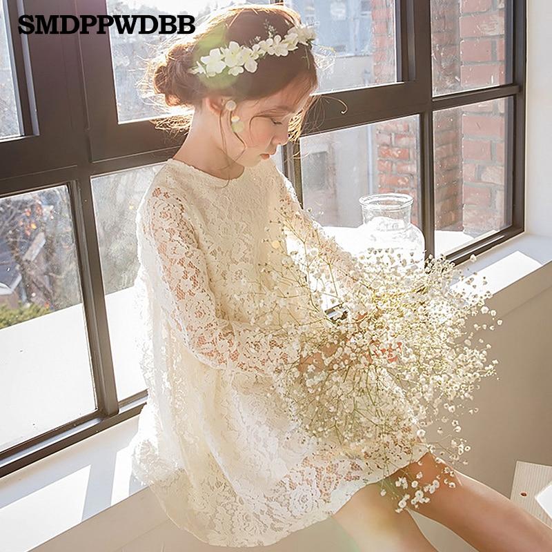 SMDPPWDBB Ivory/ Cream Girls Kids Lace Flower Princess Wedding Prom Party Dress with Big Bow Long Sleeved Tulle Lace Tutu Dress