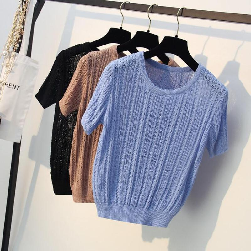 Loose Thin Tops Women Knitting Shirts 2019 Pullovers Femme Pull Black Blue Khaki Hollow Out Knitwear Knitting Tees Rich In Poetic And Pictorial Splendor