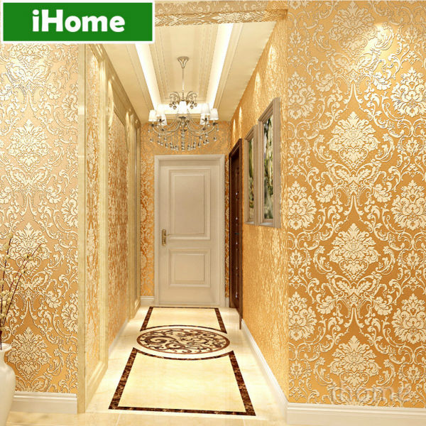 European vintage damask non woven wallpaper living room 3d for Damask wallpaper living room ideas