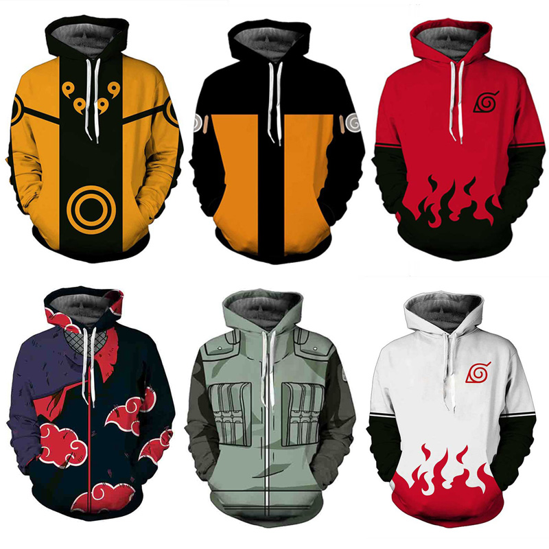 Anime Naruto Bruto Hoodies Men 3D Hoodie Akatsuki Coat Uchiha Itach Cosplay Costume Daily Jacket Kakashi Sweatshirt Luxtees