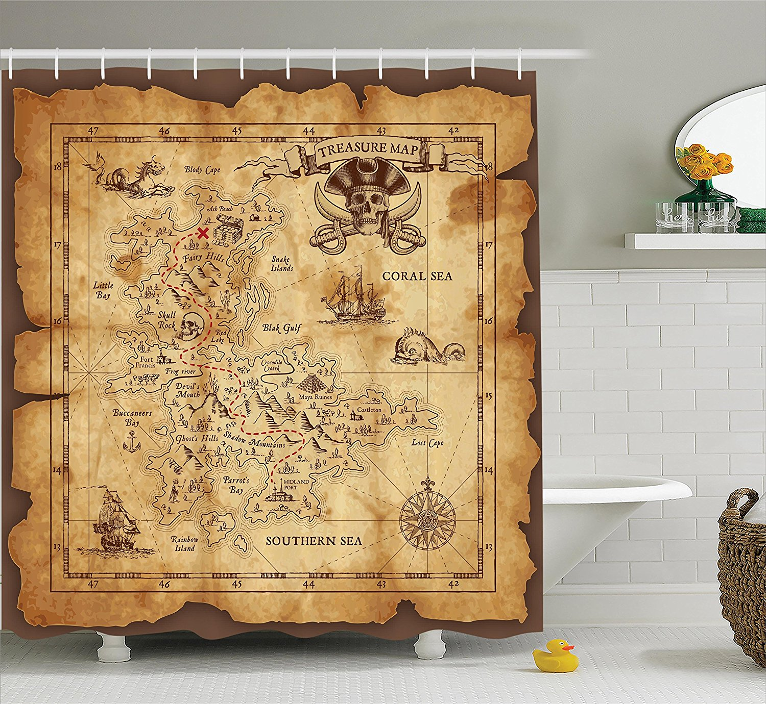 Island Map Decor Shower Curtain Set Super Detailed Treasure Map Grungy Rustic Pirates Gold Secret Sea History Theme, Bathroom