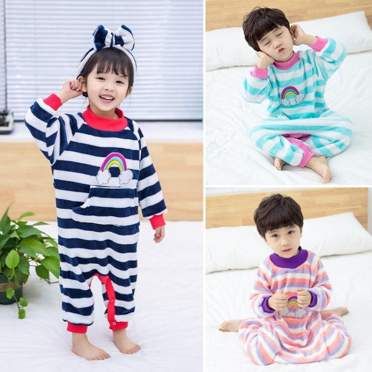 Детские цельные пижамы, детские комбинезоны, одежда года, новые фланелевые пижамы в радужную полоску для мальчиков и девочек, одежда для сна, домашняя одежда