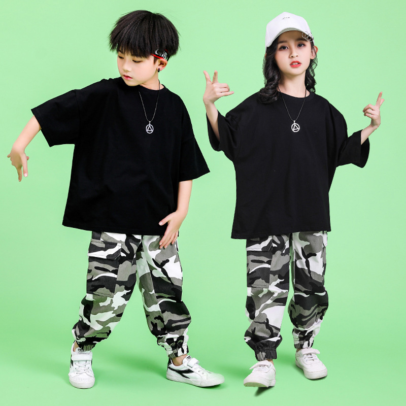 Children Hip Hop Clothing Oversized Running T Shirt Tops Camouflage Casual Pants For Girls Boys Dance Costume Ballroom Clothes