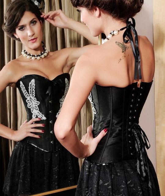 Black Satin White Flower Embroidery Overbust Corset Lingerie