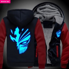 BOOCRE USA Size Anime BLEACH Kurosaki Ichigo Sweatshirts Hoodie Luminous Unisex Thicken Jacket Coat