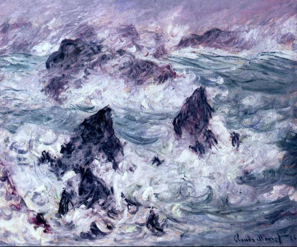 High quality Oil painting Canvas Reproductions Storm at Belle-Ile (1886)  By Claude Monet Painting hand paintedHigh quality Oil painting Canvas Reproductions Storm at Belle-Ile (1886)  By Claude Monet Painting hand painted