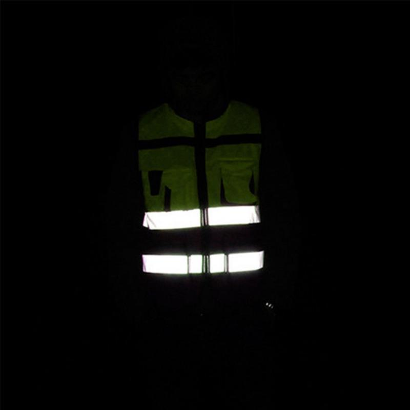 1Pc Security Visibility Reflective Vest Warp Knitting Cloth Construction Traffic Cycling Wear Reflective Safety Clothing New 2