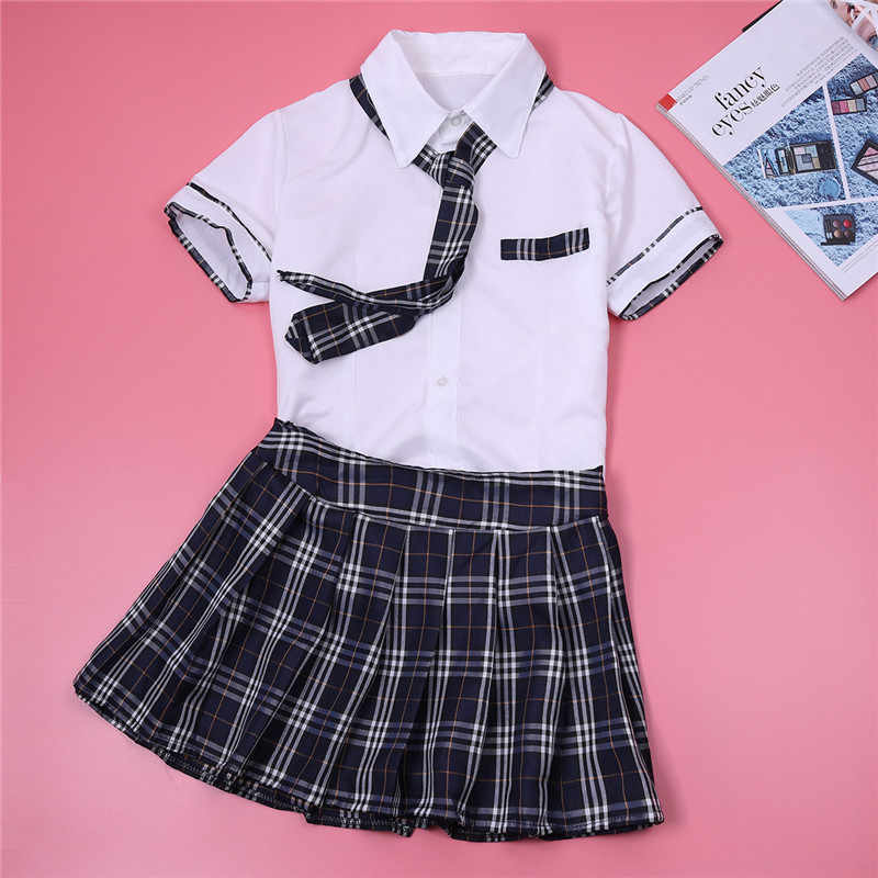 526a61eff1 ... Halloween Costume for Women Girl Cosplay Costume School Uniform Short  Sleeve Shirt with Plaid Skirt and ...