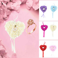 Free Shipping 5 Colors NEW Elegant Rose Wedding Favors Heart Shaped Design Gift Ring Box Pillow