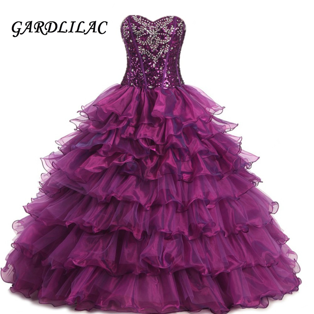 2019 New Sweetheart Purple Quinceanera Dresses Organza  Sweet 16 dresses Debutante Ball Gown Long Prom Dresses