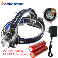 3800LM Headlight T6 LED Headlamp Head Lamp Torch Powered LED Flashlights Biking Fishing Torch with 18650 Battery Charger