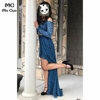 2019 с открытыми плечами темно синие вечерние платья кружевные Длинные вечерние платья с бисером вечерние платья vestido de festa шифоновые женские