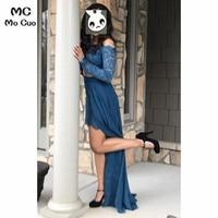 2019 с открытыми плечами темно синие вечерние платья кружево бисером Длинные вечерние vestido de festa шифон для женщин Выпускные