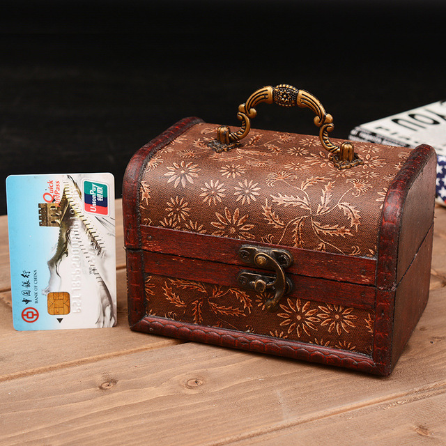 Antique Decorative Gift Box Wood Storage Box Vintage Wooden Jewelry Case with metal clock Organizor Home & Antique Decorative Gift Box Wood Storage Box Vintage Wooden Jewelry ...