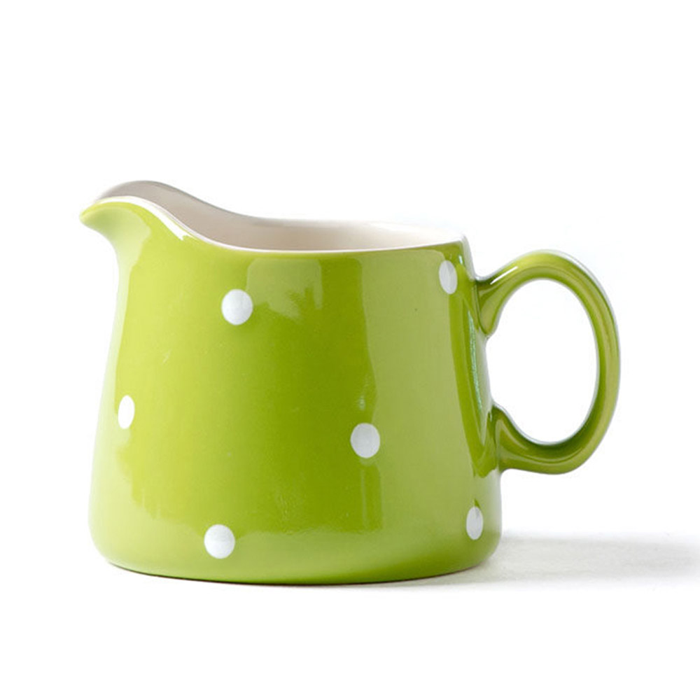 Quail 8 Oz Polka Dot Ceramic Creamer,Milk Jug,Pourer,Pitcher Jug,Pottery Coffee Creamer Mug