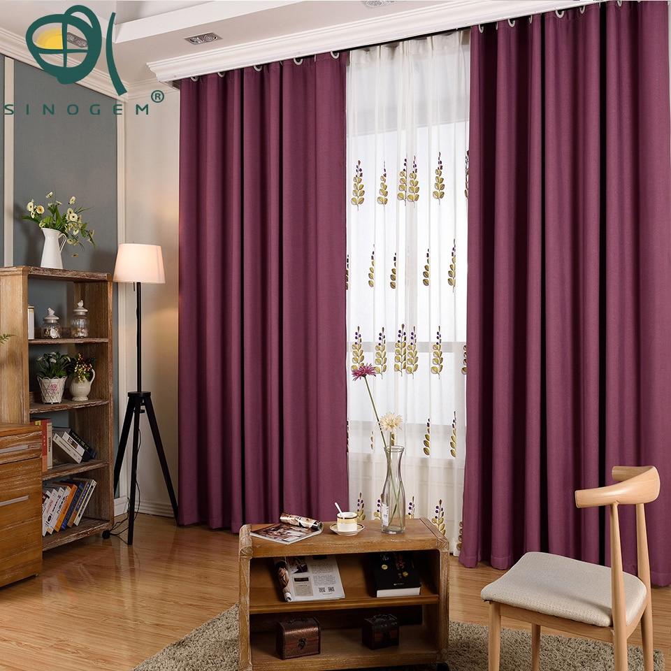 Sinogem Solid Color Velvet Linen Blackout Curtains For