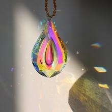 H&D Colorful Lamp Prisms Parts Loquat Shape Chandelier Glass Crystal Hanging Drops Pendants 76mm Christmas Decoration Suncatcher