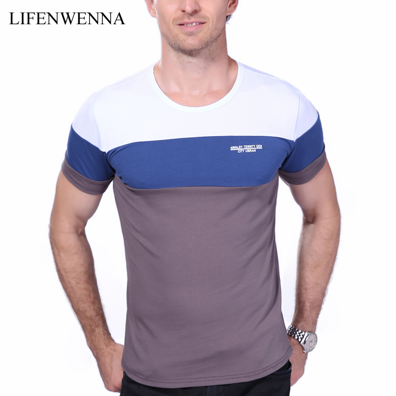New Summer Men's T Shirt 2017 Fashion Striped T Shirt Mens Clothing Trend Slim Fit Short Sleeve Casual Mens Top Tees Shirt 5XL