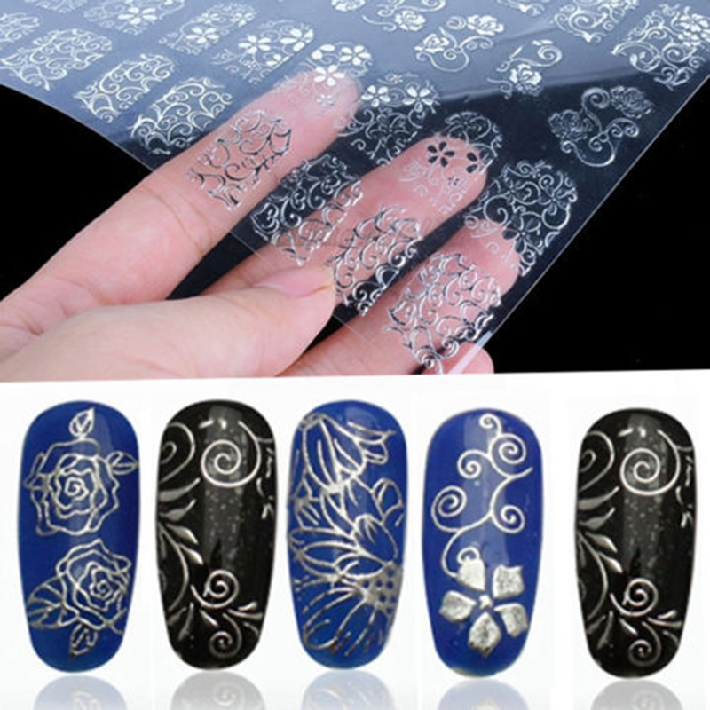 3D Silver Flower Nail Art Stickers Decals Stamping DIY Stickers For Nails Decoration Tools Nail Art Sticker 1sheet=108pcs 30pcs set 3d lace nail art stickers decals manicure decoration nail accessories white black diy tools beauty nails