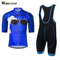 Cycling Jersey WEIMOSTAR Men Bike Jersey Half Sleeve MTB Blue Smile T Shirt Bib Shorts Suit Set Quick Dry