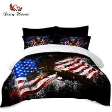 цены на Colorful American Flag Bedding Set National Bird Bald Eagle Print Duvet Cover King Queen Bed Cover Pillowcase Festival Gift D45  в интернет-магазинах