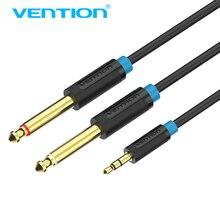 Vention 3.5 مللي متر إلى 2 6.35 مللي متر كابل الصوت ستيريو Aux 3.5 ذكر إلى ذكر 6.35 6.3 6.5 مونو Y الفاصل الصوت الحبل 5 متر للهاتف إلى خلاط