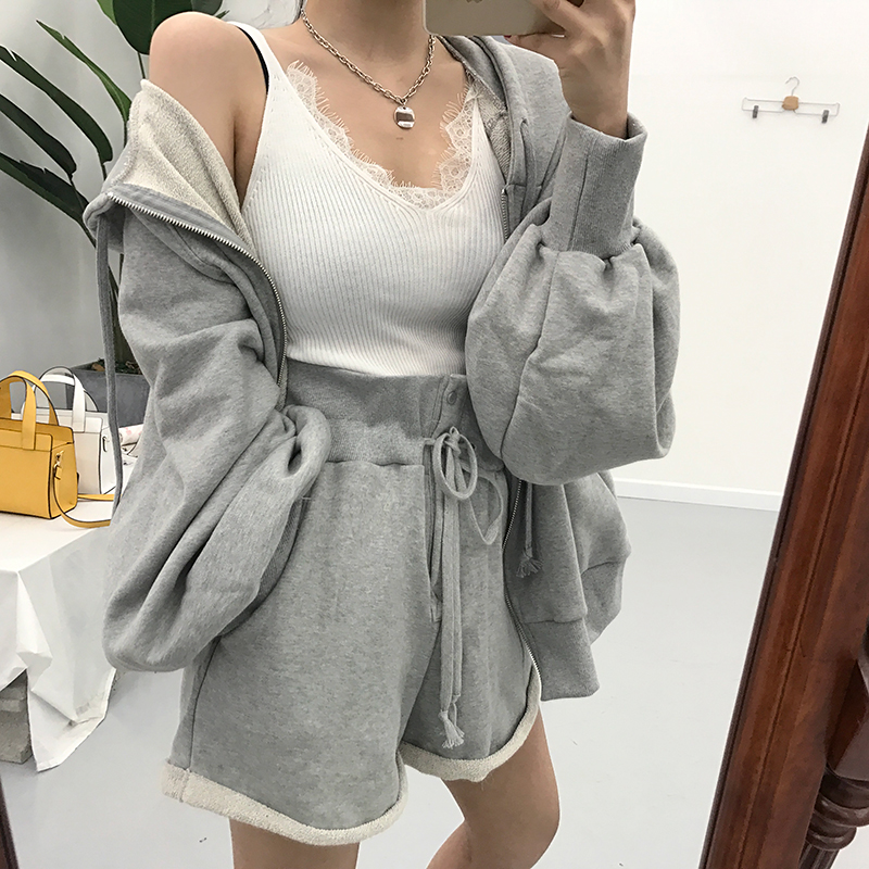 Women Autumn Cotton Solid 2two Piece Set Outfits Female Hooded Zipper Puff Sleeve Long Sweatshirts With Wide Leg Short Pants