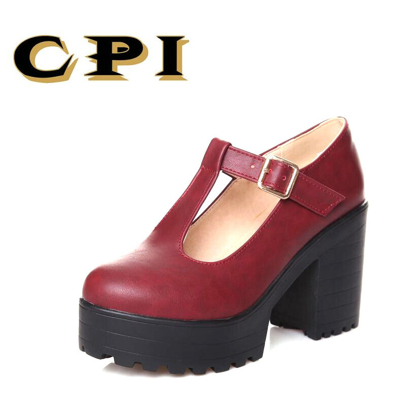 CPI New fashion women shoes thick high heels platform shoes woman shoes spring autumn women pumps T-strap ladies shoes NX-033 2017 elegant high heels fashion bowtie ladies pumps sexy spring autumn platform shoes woman black and blue women shoes hds72