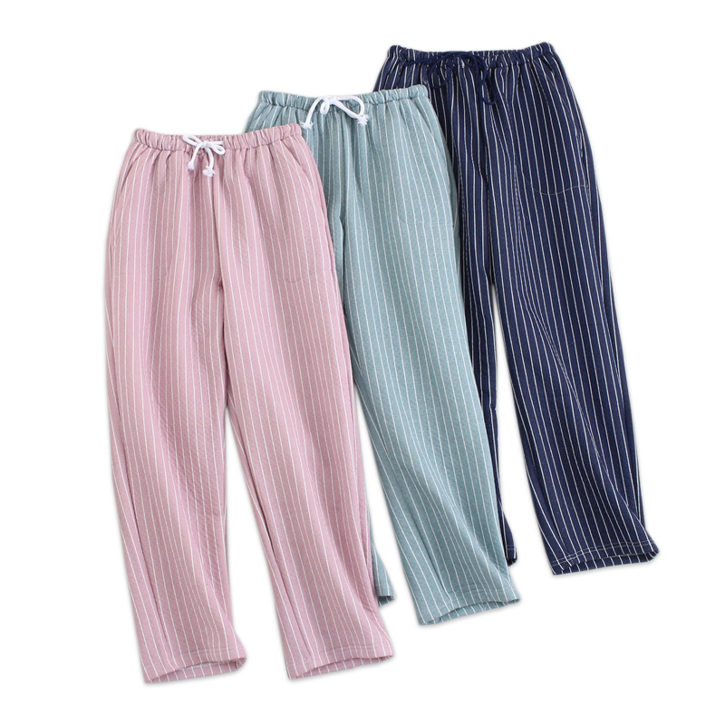 100% cotton scuba fabric sleep bottoms women Quilted pajamas pants winter warm fashion stripes indoor pants women home trousers