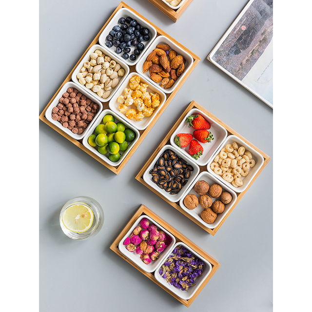 MDZF SWEETHOME Ceramic Snack Plate SetDessert Plate Dry Fruit Tray Snack Tray Fruit Plate Square Snack Bowls with Wooden Pallets