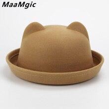 Los niños de fieltro de lana de sombrero para niñas niños fedora sombreros  cúpula casquillo de los niños de invierno lindo sombr. 81126bc5162