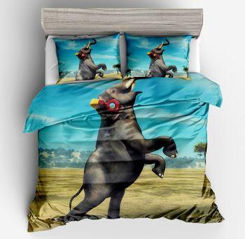 3d cartoon animal series Elephant Bohemian style Duvet Cover Set 2/3pcs Double Bedclothes Colorful Elephant print Bedding Sets