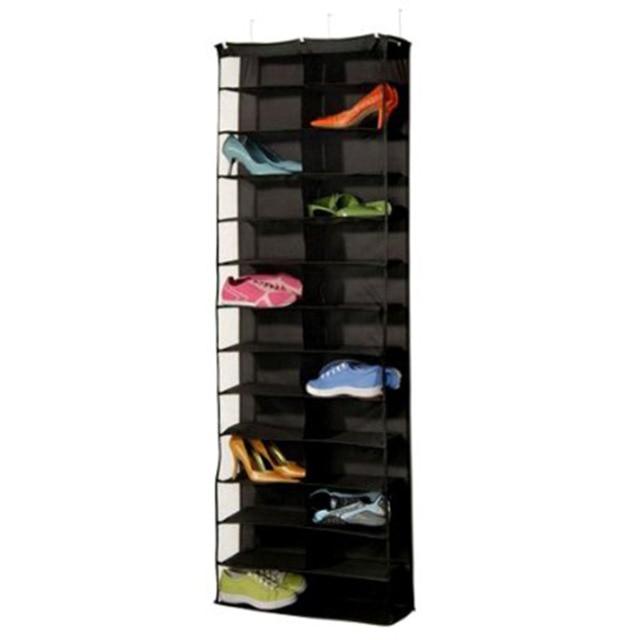 Household Useful 26 Pocket Shoe Rack Storage Organizer Holder Folding Door Closet Hanging Space Saver with 3 Color 1