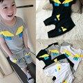 Summer children clothes boy cartoon pattern suit short sleeve top+pants 2 pieces 100% cotton 5s/l