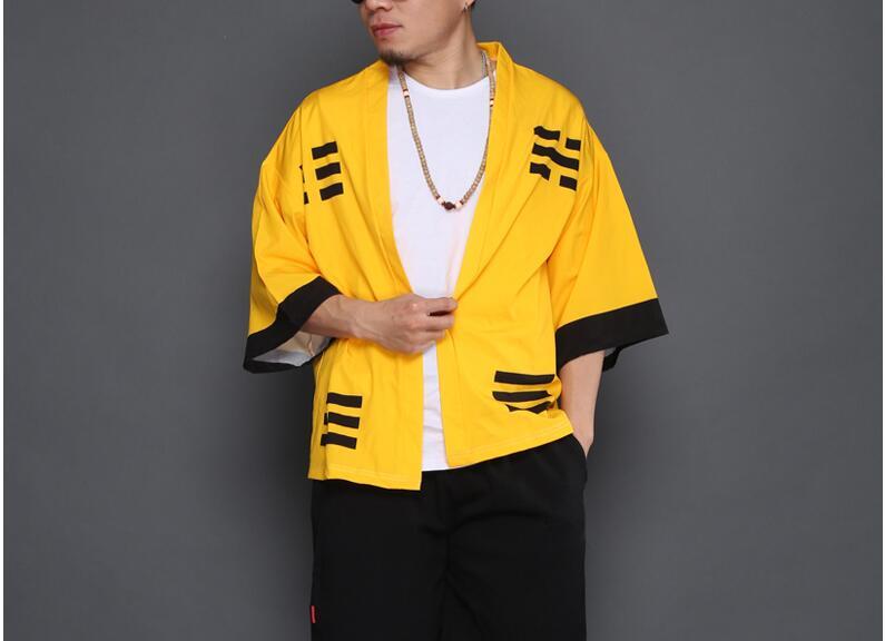 2020 homens quimono japonês roupas streetwear casual