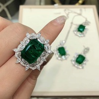 Women S925 sterling silver Valentine's Day gift retro temperament ring luxury emerald ring Wedding Engagement jewelry